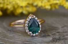 Green Emerald Pear Engagement Ring in 14k Rose Gold 9x6mm