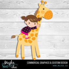 Baby Girl and Giraffe graphics I offer exclusive graphics and illustrations. See what I can do for you. http://www.mujka.ca