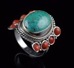 NATURAL TURQUOISE CORAL GEMSTONE RING SIZE 8 US 925 STERLING SILVER KJR31 #Handmade