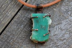 Beautiful Natural Chrysoprase Pendant in the rough on a thick Leather cord and handmade copper fittings by HammeredandFired on Etsy https://www.etsy.com/au/listing/537111088/beautiful-natural-chrysoprase-pendant-in