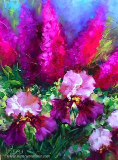 I'm taking liberties with pinks in Flower Mound Studio this week, celebrating a BIG announcement on May 11! Pink Frosting Irises, 20X20, oil