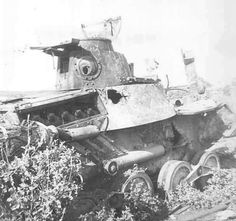 """A knocked out Type 95 """"Ha-go"""" tank"""