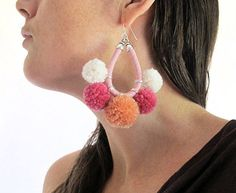 Pompom earrings by Livie Rose desugns. Check out this item in my Etsy shop https://www.etsy.com/au/listing/537146159/pompom-earrings-large-statement-earrings