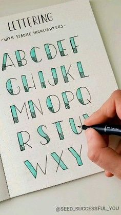 Lettering with Stabilo highlighter ? Lettering with Stabilo highlighter ? Bullet Journal Writing, Bullet Journal Headers, Bullet Journal Banner, Bullet Journal School, Bullet Journal Aesthetic, Bullet Journal Ideas Pages, Bullet Journal Inspiration, Daily Journal, Bullet Journals