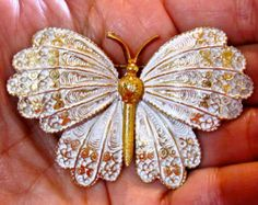 Beautiful CAPRI DEMI SET Plique' A Jour Style Lacy White and Gold Tone Butterfly Brooch Pin & Matching Clip Earrings ~ Vintage Signed Beauty