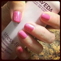 CND Shellac Hot Pop Pink by @Karina Rivera with some sparkles on every other nail!