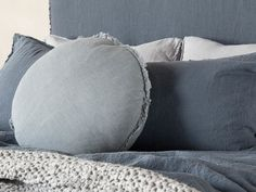 Flocca linen macaron cushion covers are delightful decorative shape finished with beautiful hand- tufted edges. Pure linen handcrafted in Europe. Duvet Bedding, Linen Bedding, Bed Pillows, Cushions, Linen Shop, Sheet Sets, Cushion Covers, Macarons, Showers