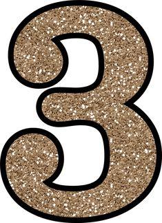3 Glitter Numbers 0 - 9 Free Printable Numbers