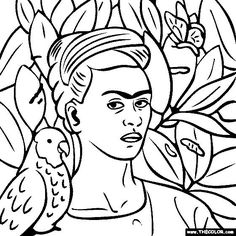 Free Coloring Page Of Frida Kahlo Painting   Self Portrait With Bonito. You  Be The Master Painter! Color This Famous Painting And Many More!