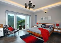 Exquisite use of red accents in the cheerful gray bedroom [Design: Savio & Rupa Interior Concepts] Simple Bedroom, Elegant Bedroom, Grey Bedroom With Pop Of Color, Grey Bedroom Design, Remodel Bedroom, Small Bedroom Remodel, Bedroom Color Schemes, Bedroom Red, Interior Design Bedroom