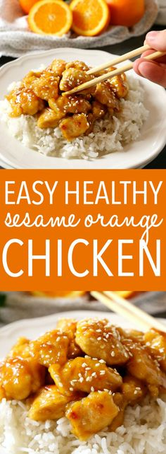 healthy weeknight meals This Easy Healthier Sesame Orange Chicken is the perfect Asian-inspired weeknight meal that's better than take-out and a healthy choice for the whole family! Make it in 15 minutes or less! Best Chicken Recipes, Asian Recipes, Chinese Recipes, Healthy Weeknight Meals, Easy Meals, Healthy Orange Chicken, 15 Minute Meals, Good Healthy Recipes, Healthy Food