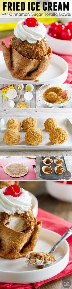 - Fried Ice Cream served in cinnamon and sugar coated tortilla bowls. Fried Ice Cream served in cinnamon and sugar coated tortilla bowls. Ice Cream Treats, Ice Cream Desserts, Frozen Desserts, Ice Cream Recipes, Frozen Treats, Just Desserts, Frozen Cookies, Frozen Cake, Frozen Party