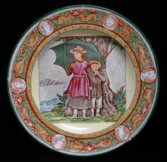 """Wedgwood (1759-2005) Month plate """"April,"""" ca. 1880. The April center is paired with Wedgwood's """"Ivanhoe"""" border."""
