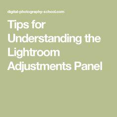 Tips for Understanding the Lightroom Adjustments Panel
