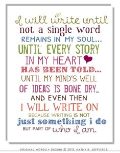 Write On Typography Print - Motivational And Inspirational Writing Quote Art Print For Writers, Perfect Gift For Those Who Love Writing