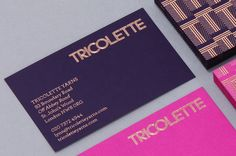 copper foil + navy and pink business cards