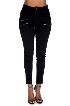 Wear these stylish jeans with a sexy top for a casual night out! Featuring; gold zipper style, distressed, pockets, high polished metal detail, high waist.