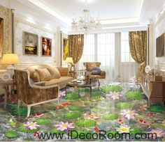 Water Lily Lotus Color Fish lilypad 00083 Floor Decals 3D Wallpaper Wall Mural Stickers Print Art Bathroom Decor Living Room Kitchen Waterproof Business Home Office Gift
