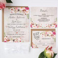 Rustic Wedding Invitations Wedding Invitation Set Floral