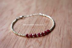 Genuine Ruby Bracelet  July Birthstone by TwoFeathersJewelry, $54.95