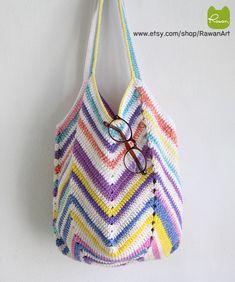 Sweet Multicolor crochet beach bag, Colorful crochet market bag, Shoulder bag, Boho bag, Summer bag, Sunshine beach bag, Totes Bag