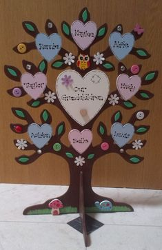 Personalised Freestanding Wood Family Tree Our Grandchildren Names Gift - Yuna Family Tree Cakes, Family Trees, New Grandparent Gifts, Wooden Owl, Presents For Teachers, Name Gifts, Wooden Plaques, Pink Butterfly, Wooden Hearts
