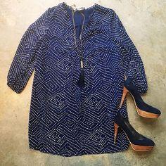 Diane Von Furstenberg DVF Blue Dress & Stuwart Weitzman Navy Heels #ShopMintATL Call 404-343-2033 for sizes & prices