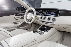 The new Mercedes-Benz S 65 AMG Cabrio, interior: leather porcelaine #mercedes #sclass #cabrio #mbhess