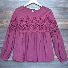 [contemporary] boho long sleeve peasant blouse with lace inset