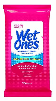 Wet Ones Antibacterial Moist Towelettes Travel Pack, White, x Fresh Scent - Includes 12 packs of 15 wipes. by Wet Ones *** Awesome outdoor product. Click the image : Travel toiletries Thing 1, Natural Moisturizer, Wet Wipe, Beauty Must Haves, Travel Packing, Air Travel, Hand Sanitizer, Sensitive Skin, Just In Case