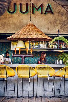 Luuma cocktail bar on Isla Holbox, an island on the coast north of Tulum Architecture Restaurant, Restaurant Interior Design, Cafe Interior, Outdoor Restaurant Design, Mexican Restaurant Design, Bar Piscina, Deco Restaurant, Eclectic Restaurant, Kitchen Organization