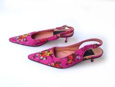 Vintage designer Dolce & Gabbana floral hot pink sling by evaelena, $75.00
