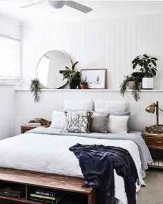 Bohemian bedroom and interior design ideas - Schlafzimmer - Bedroom Decor Bedroom Inspo, Home Bedroom, Room Decor Bedroom, Modern Bedroom, Master Bedroom, White Bedroom Walls, Contemporary Bedroom, Bedroom Plants Decor, Bedroom Inspiration