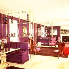 """David Hicks 1961 decor for the Knightsbridge apartment of Helena Rubinstein (1872-1965), Polish American cosmetics entrepreneur, art collector and philanthropist. Her collection included works by Pablo Picasso, Henri Matisse, Salvador Dalí, Constantin Brancusi, Elie Nadelman, and Joan Miro, among others, as well as outstanding examples of African art. Despite the age difference, she was 90, he was 30, Rubinstein and Hicks were clearly on the same """"colourful"""" wavelength and her Balenciaga…"""