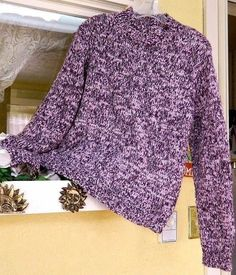 Variegated Mock Turtleneck Pullover Sweater L Purple/Multi Chunky Knit Long Slv #Tribeca #TurtleneckMock #Casual