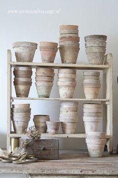 Pale clay pots