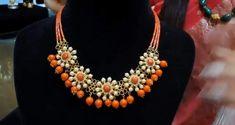 Gold Jewellery Design, Bead Jewellery, Beaded Jewelry, Jewelery, Jewelry Necklaces, Beaded Necklace, Designer Jewellery, Gold Necklace, Coral Jewelry