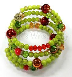 GreenRed Coil Beaded Bracelet Wrap Memory Wire by RandRsWristCandy