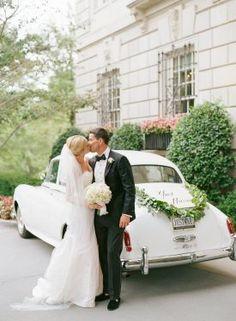 Kiss in Front of Getaway Car, Just Married Sign   DC Hay Adams Wedding   Jody Kurt Photography