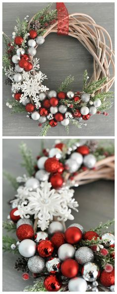How to Make a Christmas Wreath-This beautiful DIY Christmas wreath turns out beautiful and is fun to make. It will look so festive hanging on your front door for the holidays. wreaths How to Make a Christmas Wreath Christmas Wreaths To Make, Noel Christmas, Holiday Wreaths, Rustic Christmas, Christmas Projects, Christmas Ornaments, Christmas 2019, Winter Wreaths, Making Christmas Decorations