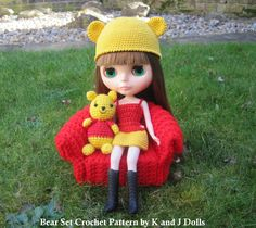 Bear Hat and Dress for my Blythe doll ~ Amigurumi crochet patterns ~ K and J Dolls / K and J Publishing