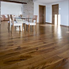 Hand distressed European Walnut flooring