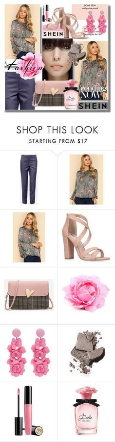 """Ruffle Sleeve Mixed Print Top"" by pesanjsp ❤ liked on Polyvore featuring Nude, Oscar de la Renta, Bobbi Brown Cosmetics, Lancôme and Dolce&Gabbana"