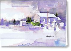 """""""Christmas Eve Twin Churches"""" Available in cards from Fine Art America."""