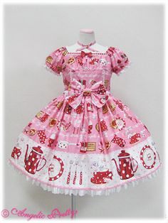 Angelic Pretty / One Piece / French Cafe OP $435 (with shipping) on Plus Size Lolita Sales.  Can go up to max 115cm bust and waist 105cm max *sobs*