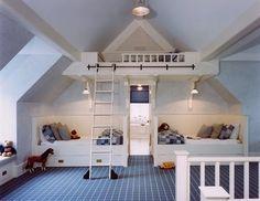 """Cool built-ins, love the little """"loft"""""""