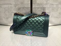 Chanel Green Medium Boy Bag with Rainbow Hardware 2