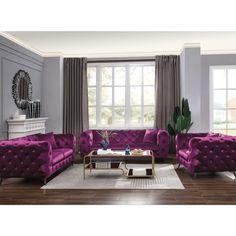 Purple Living Room Furniture, Glam Living Room, Sofa Furniture, Living Room Decor, Acme Furniture, Modern Furniture, 3 Piece Living Room Set, Living Room Sets, Living Room Designs