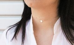 Tiny Star Choker, White MOP Star, 14k Gold Fill or 925 Sterling Silver, Single Star Short Necklace, Minimal Necklace, Delicate Jewelry
