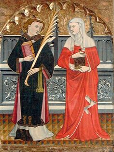 ST. STEPHEN AND ST. MARY MAGDALENE. Vall, Pere | Spanish | 1380-1480. materials tempera and gold on wood. Indianapolis Museum of Art